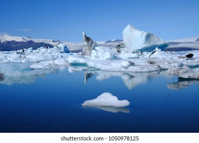 Jökulsárlón Glacier in Iceland with reflection