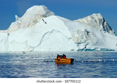 The glacier at Ilulissat in Greenland is the most productive in the world. Calving huge gicebergs into the Atlantic it is regarded as an important measure of the progress of global warming.
