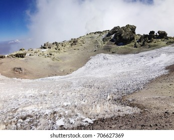 Glacier inside caldera of Damavand volcano, summit of Damavand volcano, the highest mountain in Iran (5671 m), Iran