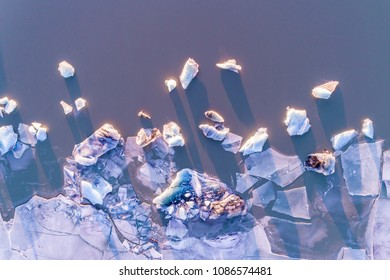 Glacier Lagoon with icebergs from above