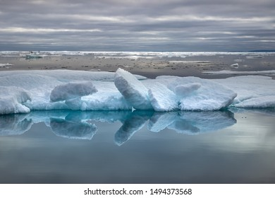 Glacier lagoon and icebergs on Peel Sound, a waterway situated in Pince of Wales island at the Northwest Passage in Canada.