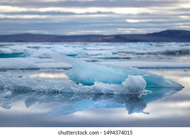 Glacier lagoon and icebergs on Peel Sound, a waterway situated in Prince of Wales island at the Northwest Passage in Canada.