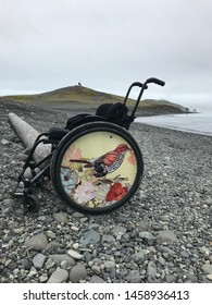 Glacier Lagoon, Iceland - 7/19/2019: Beautiful Wheelchair of a Differently-Abled Patron Who Went on a Glacier or Iceberg Tour in Iceland