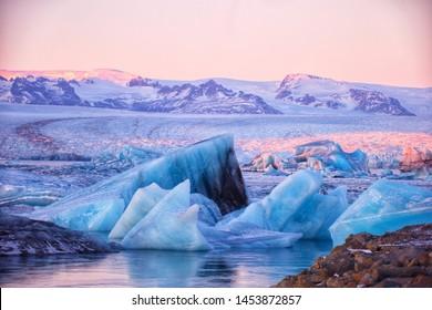 Jökulsarlon glacier lagoon in Iceland, Europe