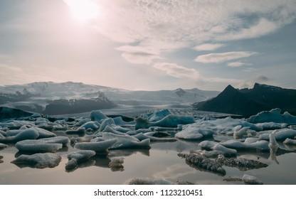 glacier lagoon in iceland. jokulsarlon lagoon beautfiul shaped icebergs sunny