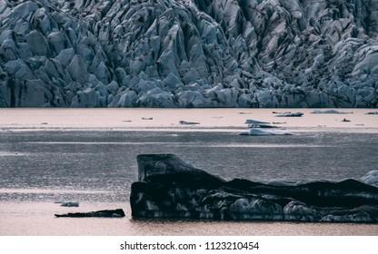 glacier lagoon in iceland. jokulsarlon lagoon beautfiul shaped icebergs lake