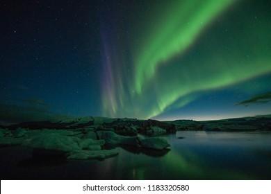 Jökulsarlon Glacier Lagoon Iceland Nordern Light