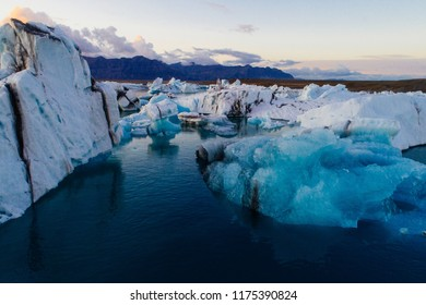 Glacier lagoon in Iceland suring the sunset
