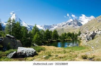 Glacier lake with mountains in the Alps, Zermatt