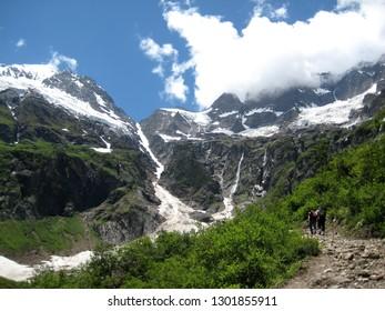 Glacier lake view on trekking trail in Shangri la Deqin Yunnan China
