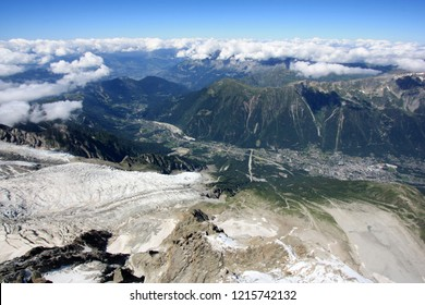 Glacier lobe of the Mont Blanc heading towards Chamonix, France. Seen from the peak of the Aiguille-du-Midi