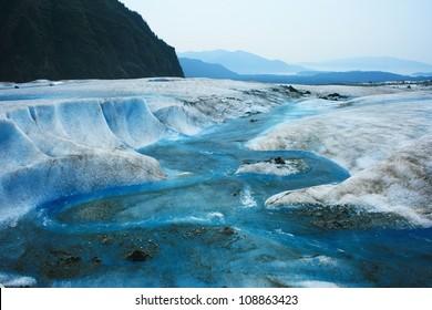 Glacier Melt on top of Mendenhall Glacier, Juneau, Alaska, USA