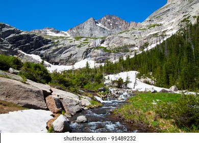 Glacier and mountain river in summer, Rocky Mountains National Park, USA