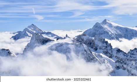 Glacier Mountains with blue sky and white clouds in Switzerland