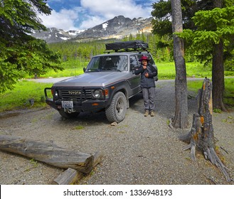 GLACIER NATIONAL PARK, USA - JUNE 29, 2018: Cut Bank Creek Valley in the Rocky Mountains in Glacier National Park. Park is a World Heritage sites and located in the U.S. state of Montana