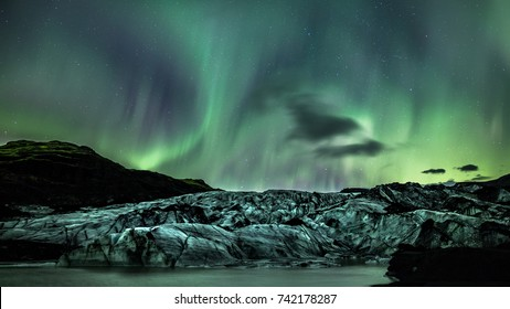 glacier with northern lights