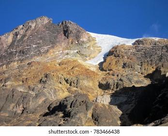 Glacier on Nevado del Tolima volcano in Colombia