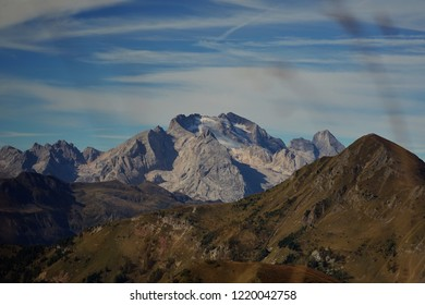 Glacier on top of Mount Marmolada, the highest mountain of Italian alps, Dolomites, Italy