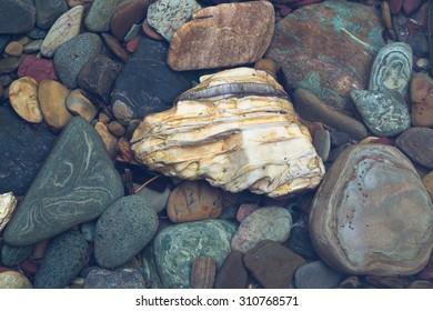 Glacier Park submerged Creek Bed Stones