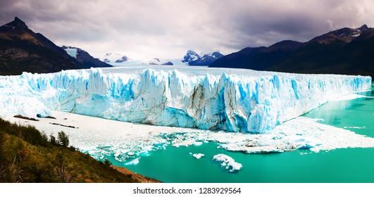 Glacier Perito Moreno (Glaciar Perito Moreno) and Andes mountains on sunny summer day. Patagonia, Argentina, Chile, Andes