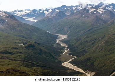 Glacier and River below Felsite Peak in Kluane National Park, Yukon, Canada
