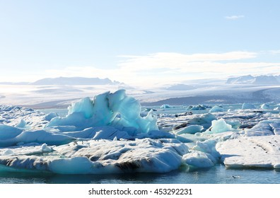Glacier River Ice Lagoon at Jokulsarlon, Iceland. The Lake is a large glacial lake in southeast Iceland, on the edge of Vatnajokull National Park.