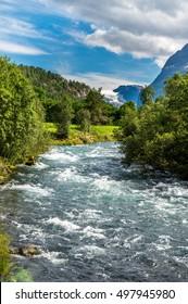 Glacier river in Norway, Norway