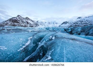 Glacier in Skaftafell National Park. Skaftafell, Iceland - 15/JAN/2016