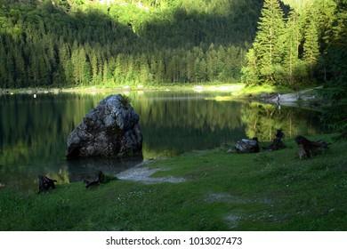 Glacier stone in the lake