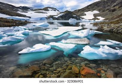 Glacier in summer in Norway