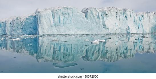 Glacier in summer on Spitsbergen island, Arctic