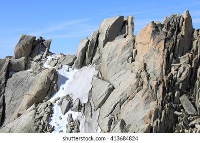 glacier and summit at Mont Blanc massif, France