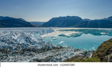 Glacier in a sunny day near Narsarsuaq, Greenland