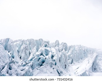 Glacier in the swiss alps, arctic, ice planet, white background, copy space