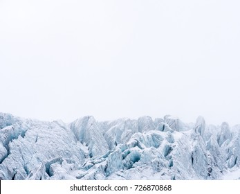 Glacier in the swiss alps, artic, ice planet, white background