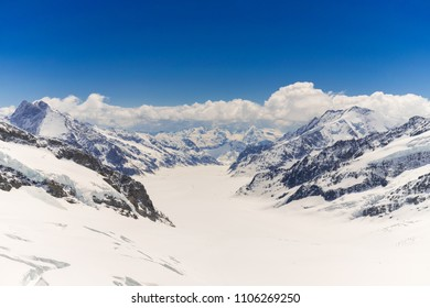 Glacier  at top of jungfraujoch ,the highest mountain peak summit top of Europe