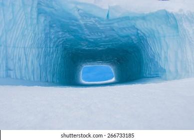 Glacier tunnel in italian alps.