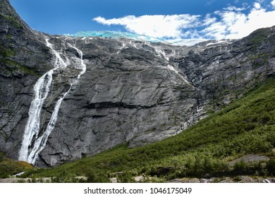 Glacier and waterfall on the top of mountain.  Briksdaslsbreen Valley in Norwegian Jostedalsbreen National Park.