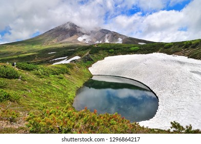Glaciers cover the lake on Asahi-dake Mountain (Mt. Asahidake), Higashikawa, Highest Mountain in Hokkaido in early summer.