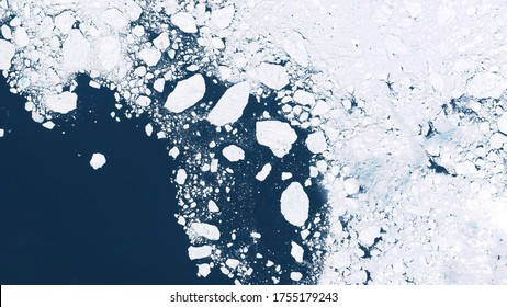 Glaciers and ice melting in the North, satellite image showing the environmental situation in the Northern region, global warming. contains modified Copernicus Sentinel data