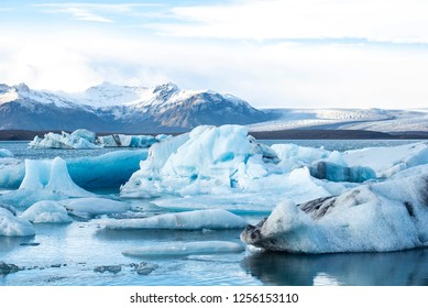Glaciers in Iceland on the water