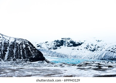 Glaciers and mountain with high key lighting