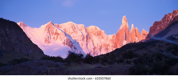 Glaciers and mountains Fitz Roy, Cerro Torre in summer day, Andes, Santa Cruz, Patagonia, Argentina