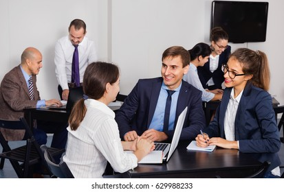 Glad cheerful coworkers working effectively on business project together