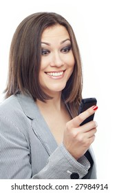 Glad lady reading or sending SMS on a white background
