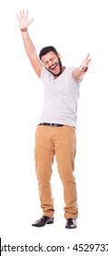 Glad latino man throws hands up. Rejoices. Full length portrait. Isolated on white background.