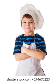 Glad little chef, standing isolated on white
