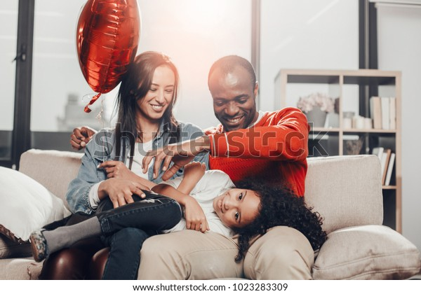 Glad Mom Dad Having Fun Kid Stock Photo Edit Now 1023283309