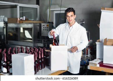 Glad positive diligent man in coat standing in packing section on winemaking factory