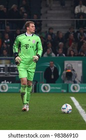 GLADBACH - MAR 21: Manuel Neuer in action during a DFB Cup semifinal between Borussia Gladbach & FC Bayern Munich, final score 2 - 4, on Mar 21, 2012, in Gladbach, Germany.